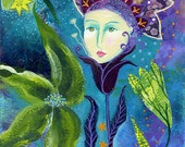 Maris, 10 x 7, original mixed media painting on paper, nature, flower art