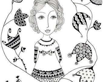 Sweet Ivy. Art print from my original pen and ink drawing, wall art, A4