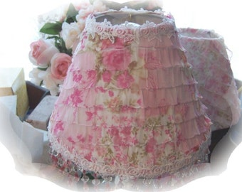 Lovely Cottage Chic Romantic Ruffles Pink Roses Regular Bulb Small Lamp Shade with Pink and Clear Beading