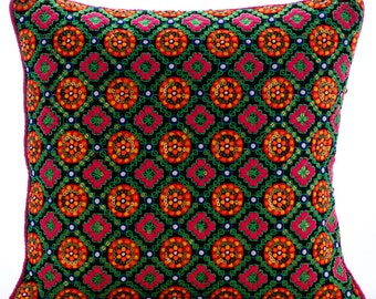 """Multi Color Cushion Covers, 16""""x16"""" Silk Pillows Cover, Square  Multicolor Indian Traditional Art Deco Pillows Cover - 365 Days Of Color"""