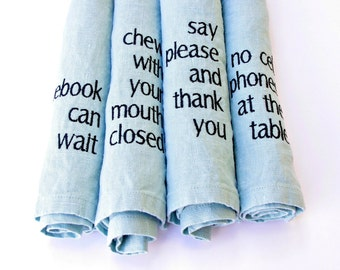 Manners Napkins Linen Napkins Set of 4 in AQUA Typography Gift Ideas 17x17 Napkins Eco Friendly Gifts for Women