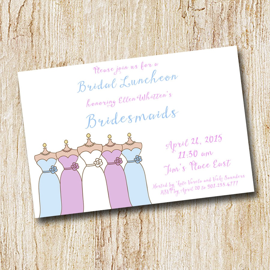Bridesmaids luncheon invitation wedding party digital for Wedding brunch invitations