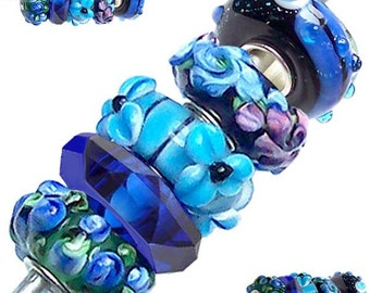 MERZIEs 5 silver Murano glass European Charm chain beads flower floral blue green purple black