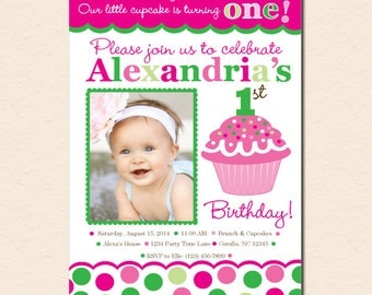 Cupcake Cutie Pie (Pink and Green) - First Birthday Party Invitation (Digital File OR Cardstock Printed Cards Also Available)
