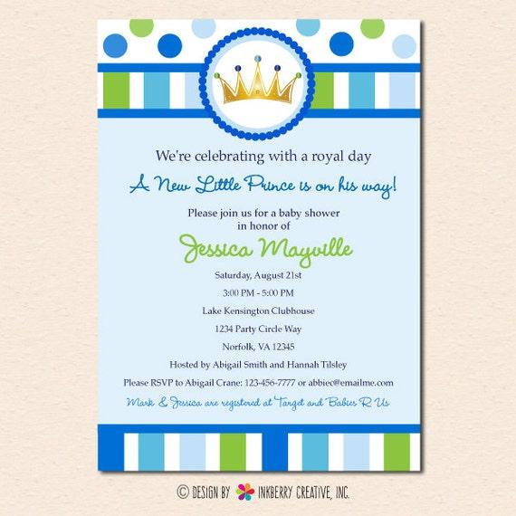 Little Prince Baby Shower Invitation Digital Printable File