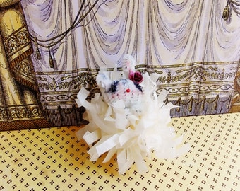 Cerise the bunny -Vintage Style Handmade Chenille Dollhouse Figurine, Artisan Miniature Pipe Cleaner Animal Doll, Wire Ornament 42915