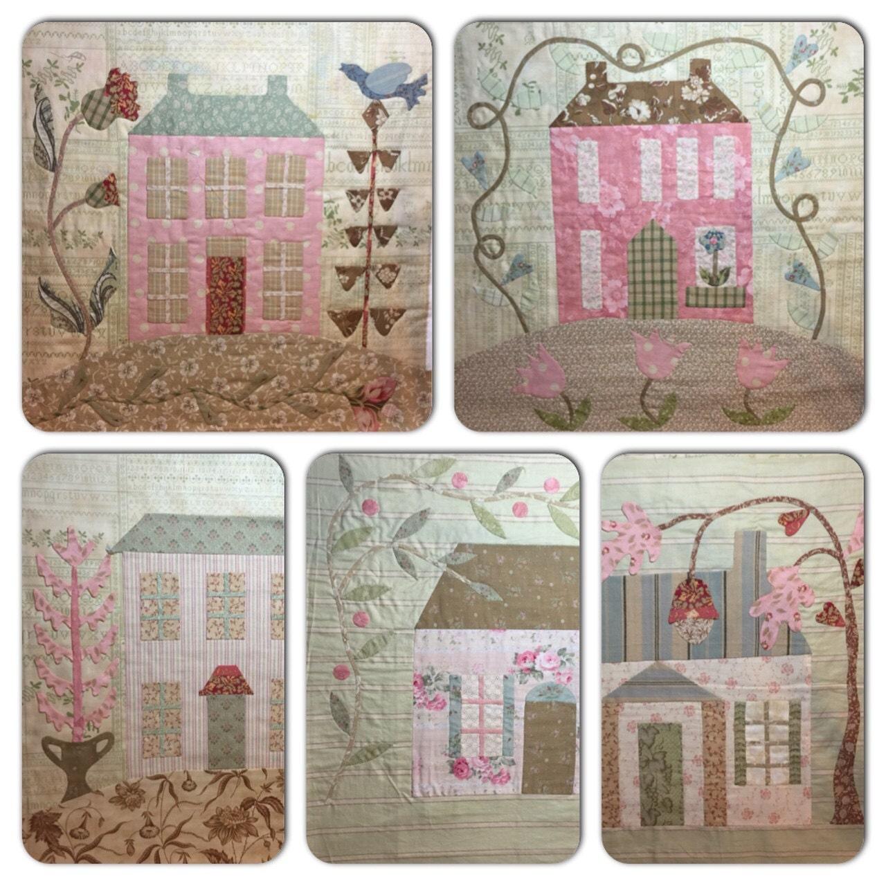 Home Sweet Home Primitive Cottages Applique Quilt Blackbird