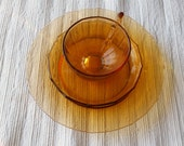 Fostoria Fairfax Amber Glass Plate, Cup and Saucer, Luncheon 3pc, vintage elegant glassware, quantity available