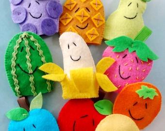 Felt Fruit Finger Puppets Sewing Pattern - PDF ePATTERN