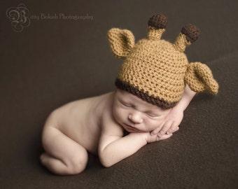Giraffe newborn photo prop hat...giraffe hat...newborn photo prop...Crochet baby giraffe hat...crochet photo prop giraffe hat