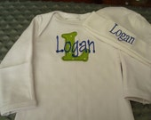 Logan Personalized Gown or Onesie and Hat HomeComing Outfit Going Home Outfit - Name or up to 3 initials