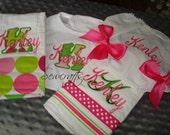 Kenley Personalized Burps Bib and a Diaper Cover  Set - choice of Name and/or up to 3 initials
