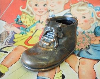 vintage Bronzed rustic Baby Shoe