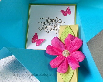 BIRTHDAY Card, folded pinwheel style, in turquoise, pink and green