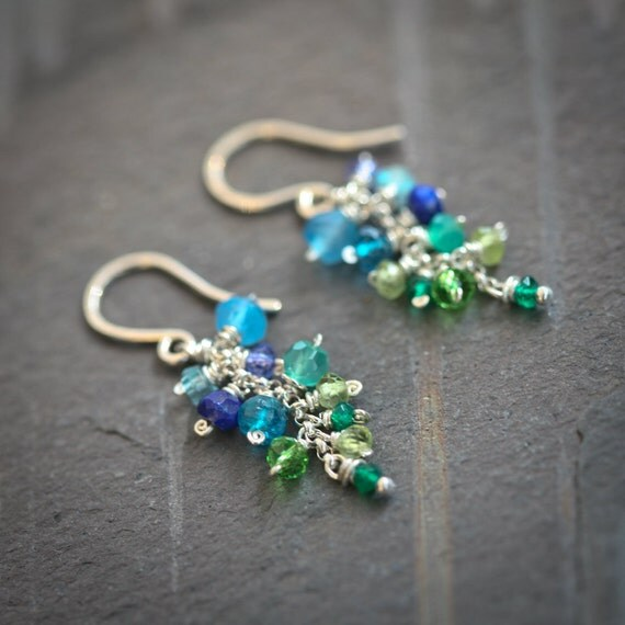 Mermaid - Multi-Gemstone Ombre Green Blue Dangle Sterling Silver Earrings