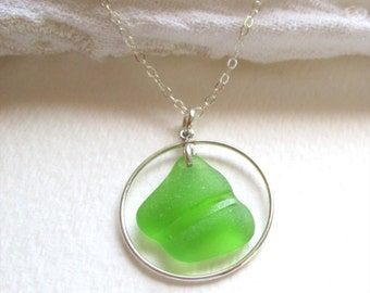"""Unique bright green sea glass circle necklace on an adjustable 18"""" to 20"""" sterling silver chain"""