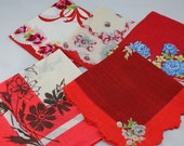 Five Cutter Hankies, Cotton, All Cotton Cutter Hankies in Various Shades of Red for Crafting, Sewing  #10