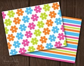 Bright Flowers and Stripes Printable Notes