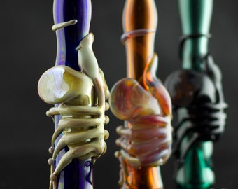 Facehugger Alien Glass Pipe Chillum Bat Hand Blown Thick Wall in YOU CHOOSE the COLOR, Made to Order