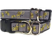 Tag Collar, Buckle Collar, Dog Collar, House Collar BUSY BEE'S in black and yellow