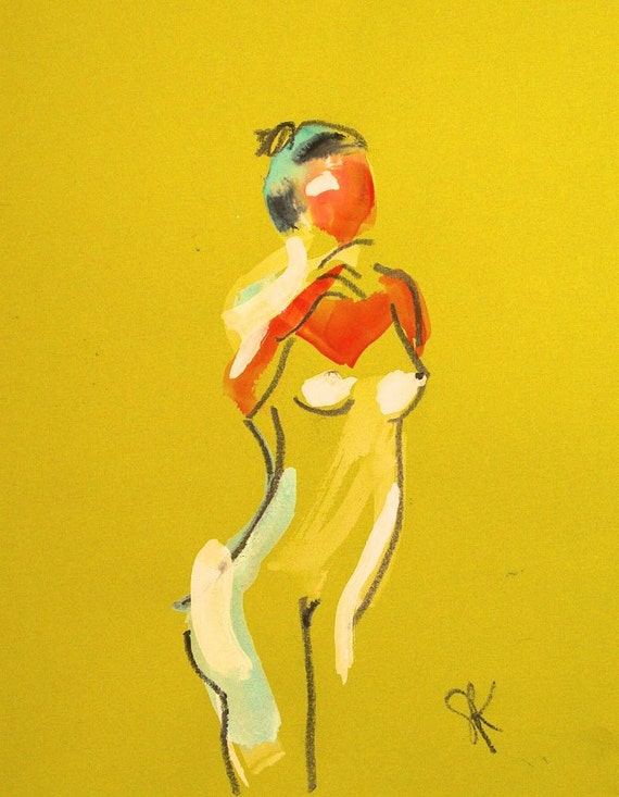 Nude painting of One minute pose 81.1 Original painting by Gretchen Kelly