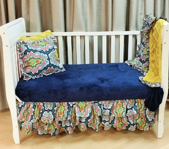 Girl Bohemian Crib/Toddler Bedding Set includes 3 Tier ...