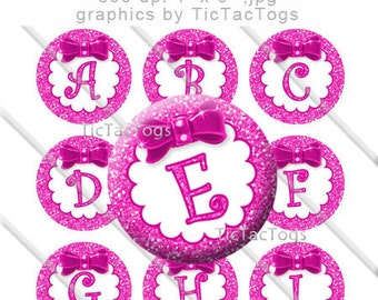 Pink Glitter Bottle Cap Images Bow Bling 1 Inch Circle A-Z 4x6 Alphabet Alpha - Instant Download - BC495