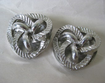 Silver Modern Earrings Clip Vintage