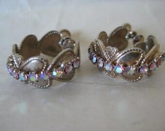 Pastel Aurora Heart Earrings Screw Gold Rhinestone Vintage