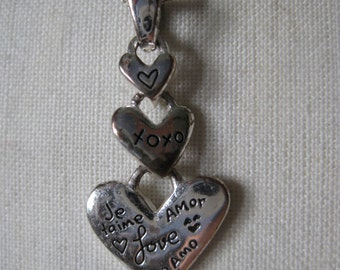 Heart Love Sterling Necklace Te amo Je taime Amor Vintage Pendant Silver 925 Dangle