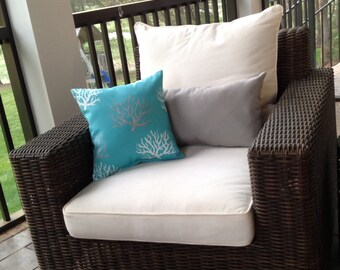 """Outdoor coral reef decorative pillow - turquoise outdoor pillow - costal pillow - 14"""" x 14"""" pillow - patio pillow - porch pillow cushion"""