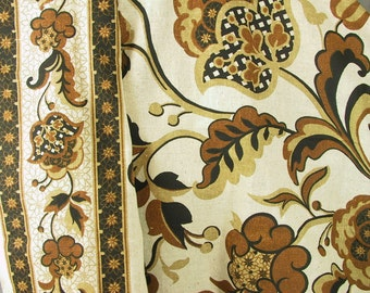Vintage Fabric Yardage, Bold Black and Brown Flower Print