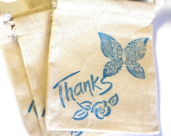 6 Muslin Bags, Blue Butterfly, Thanks, gift Bags, Packaging, 4x4 Inches, Hand Stamped, Party Favor Bags
