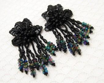 Long Black Earrings Beaded Tassel Vintage Jewelry E6521