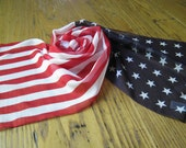 Vintage Scarf, Red, White and Blue Silky Scarf, American Flag Scarf, Patriotic Scarf, Vintage Scarf, Head Scarf, Scarf, 1950's Fashion