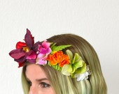Flower Crown Headband - TROPICAL DREAMS CROWN - Red Pink Floral Crown - Flower Headband Adult