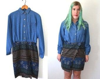20 DOLLAR SUPER SALE! Women Denim Dress - Long Sleeve Dress - Tribal Blanket Dress