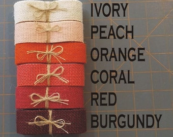 1 inch PEACH Orange CORAL Red or Burgundy Burlap Ribbon x 3  yards