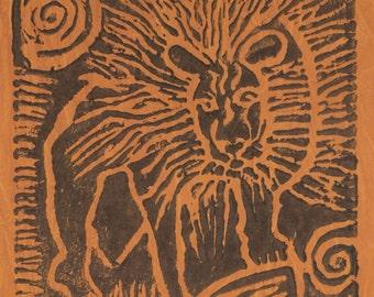 South African cotton batik panel - warm brown lion