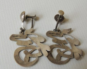 1950s 950 Silver Oriental Style Earrings