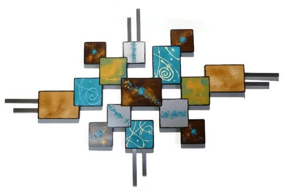 art contemporain moderne sculpture murale de carr turquoise. Black Bedroom Furniture Sets. Home Design Ideas
