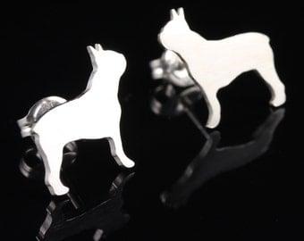 Boston Terrier 'BT' Sterling Silver Dog Silhouette Earrings Studs