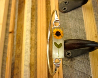 Real Miniature Sunflower Bangle Bracelet - White silver. Yellow, daisy, leaves, plant, flowers, tiny, little, small, dainty, CUTE!