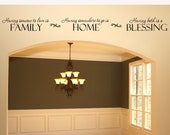 Family Wall Decal Wall Sticker Having somewhere to go is Home Family Blessing Living Room Entryway Dining Room Decor Vinyl Lettering  Quote