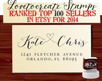 Calligraphy Handwriting Script Custom Return Address Stamp - Personalized SELF INKING Wedding Stationery Stamper - Style 9013J