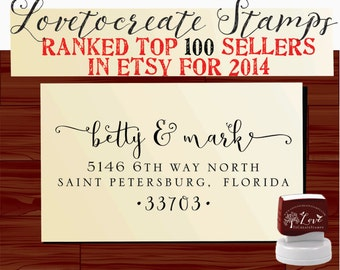 Custom Address Stamp Self Inking Return Address Rubber Stamp - style 1159B- wedding or christmas gift