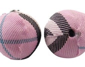 5-ct Light Pink Plaid Material Covered Beads- 20mm