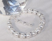 Pearl Bridal Jewelry - Shown in White - Any Color - Bride, Bridesmaid, Maid of Honor, Jr Bridesmaid - MADE TO ORDER