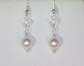 Swarovski Pearl & Crystal Bridal Earrings - MADE TO ORDER in Any Color