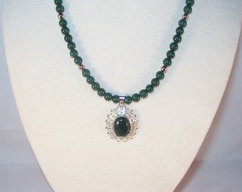Green Mountain Jade Cabochon Necklace